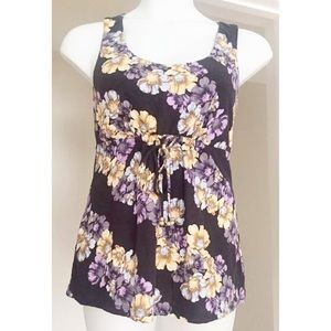 TOMMY BAHAMA Sz S Purple Floral Tank Top w/ Ties